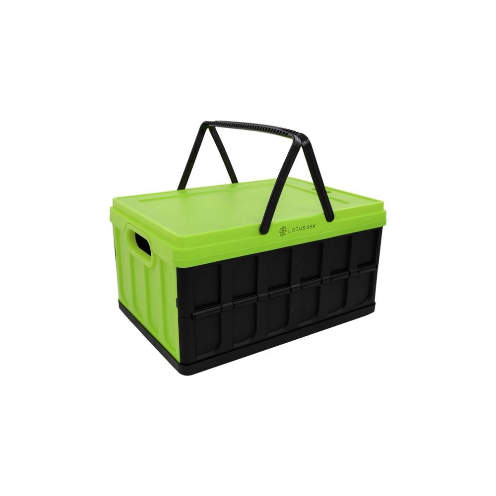 Image of 33qt Foldable Hardside Basket Storage Crate Green/Black - Lotus USA