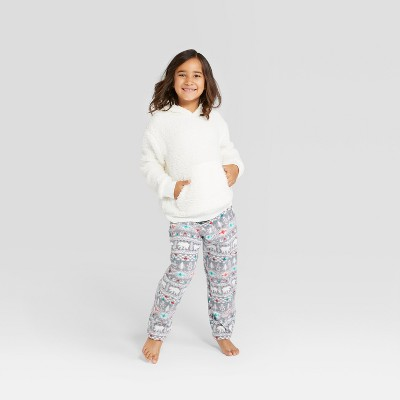 Kids' Holiday Fuzzy Bear Fair Isle Pajama Set - Wondershop™ White 8