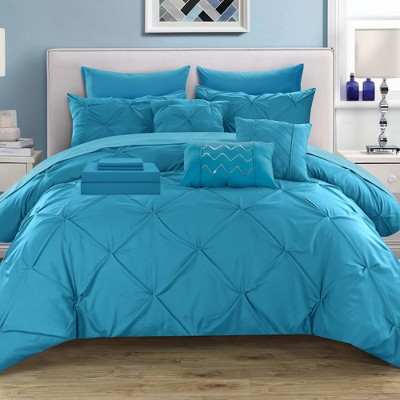 Chic Home Mycroft Pinch Pleated Decorative Pillows & Shams - Turquoise