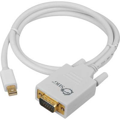 SIIG 3ft Mini DisplayPort to VGA Converter Cable (mDP to VGA) - 3 ft Mini DisplayPort/VGA Video Cable for Video Device, TV, Monitor, Notebook