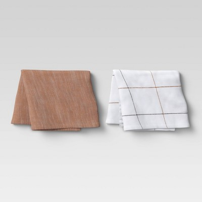 2pk Cotton Fringed Chambray Woven Kitchen Towels Brown - Threshold™