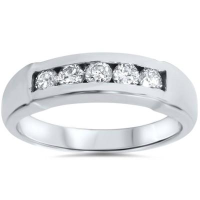 Pompeii3 (GH/SI) Certified Mens 1/2ct Diamond Wedding Ring 14k White Gold - Size 6