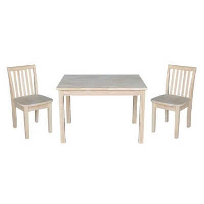 Kids' Table with 2 Mission Juvenile Chairs Unfinished - International Concepts
