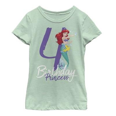 Girl's The Little Mermaid 4th Birthday T-Shirt