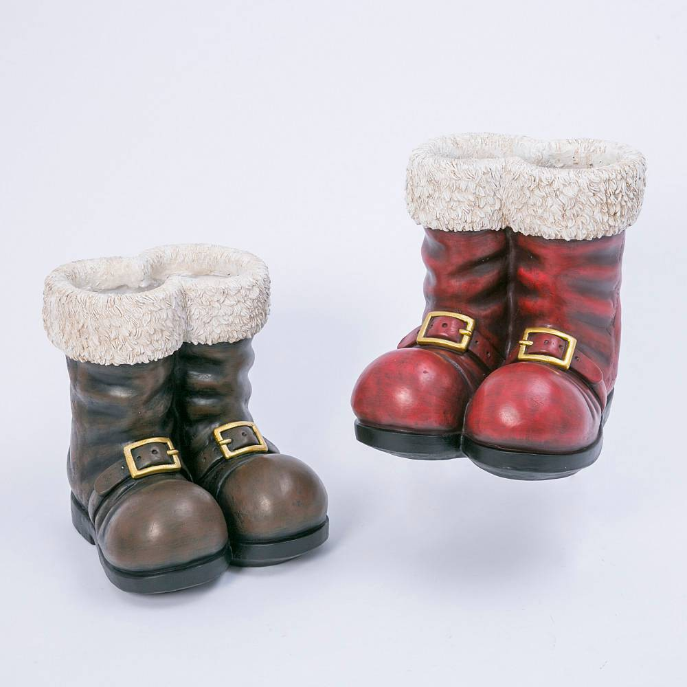 "Image of ""12.5"""" Magnesium Santa Boots Decorative Figurine - Gerson International, Red Brown"""