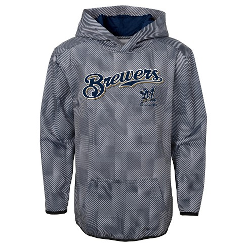 huge sale dc1a9 4541b Milwaukee Brewers Boys' First Pitch Gray Poly Hoodie XS