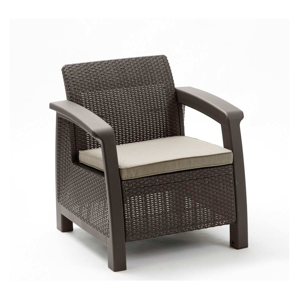 Image of Bahamas Outdoor Resin Patio Armchair with Cushion Brown - Keter