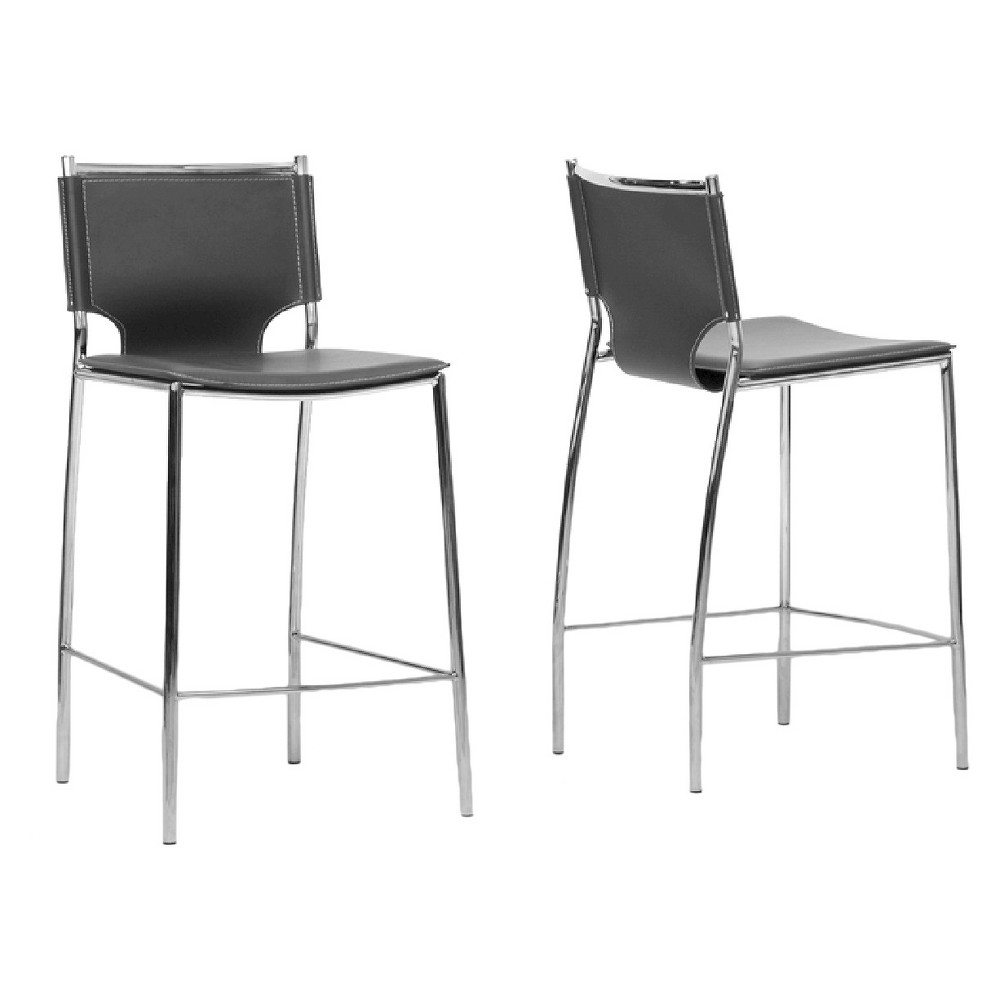 Montclare Modern and Contemporary Bonded Leather Upholstered Modern Counter Stool - Black (Set of 2) - Baxton Studio