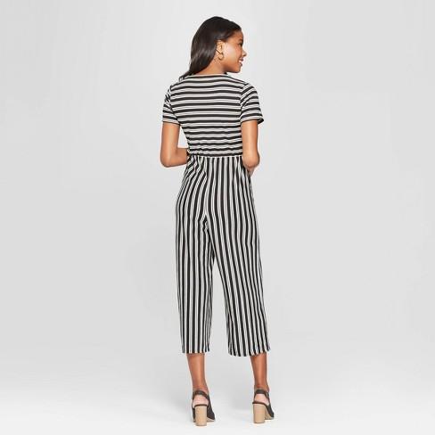 2aefcfa0d92 Women s Striped Short Sleeve Tie Front Knit Jumpsuit - Xhilaration™  Black White XL   Target