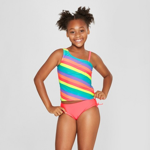 Girls' Surf Love Tankini Set - Cat & Jack™ Coral - image 1 of 3