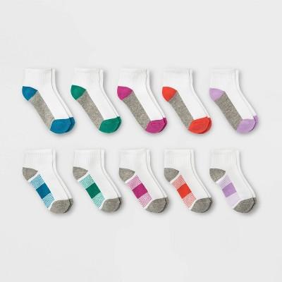 Girls' 10pk Striped Ankle Socks - Cat & Jack™