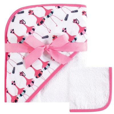 Hudson Baby Infant Girl Cotton Hooded Towel and Washcloth 2pc Set, Fancy Flamingo, One Size