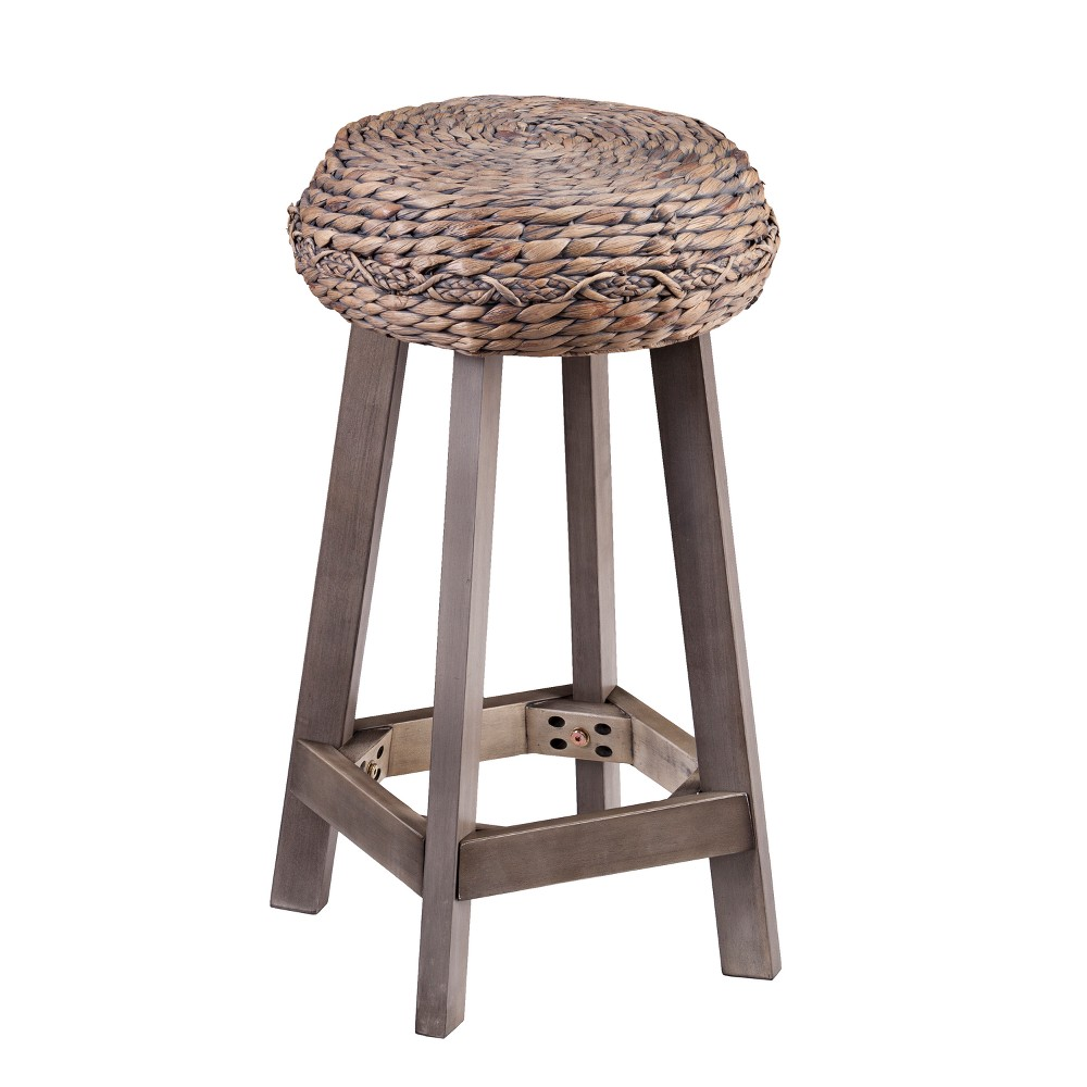 Image of 24 Rook Round Backless Water Hyacinth Stools (Set of 2) Brown - Aiden Lane