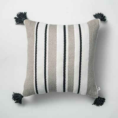 "18"" x 18"" Multistripe Indoor/Outdoor Throw Pillow Black/Gray/Cream - Hearth & Hand™ with Magnolia"