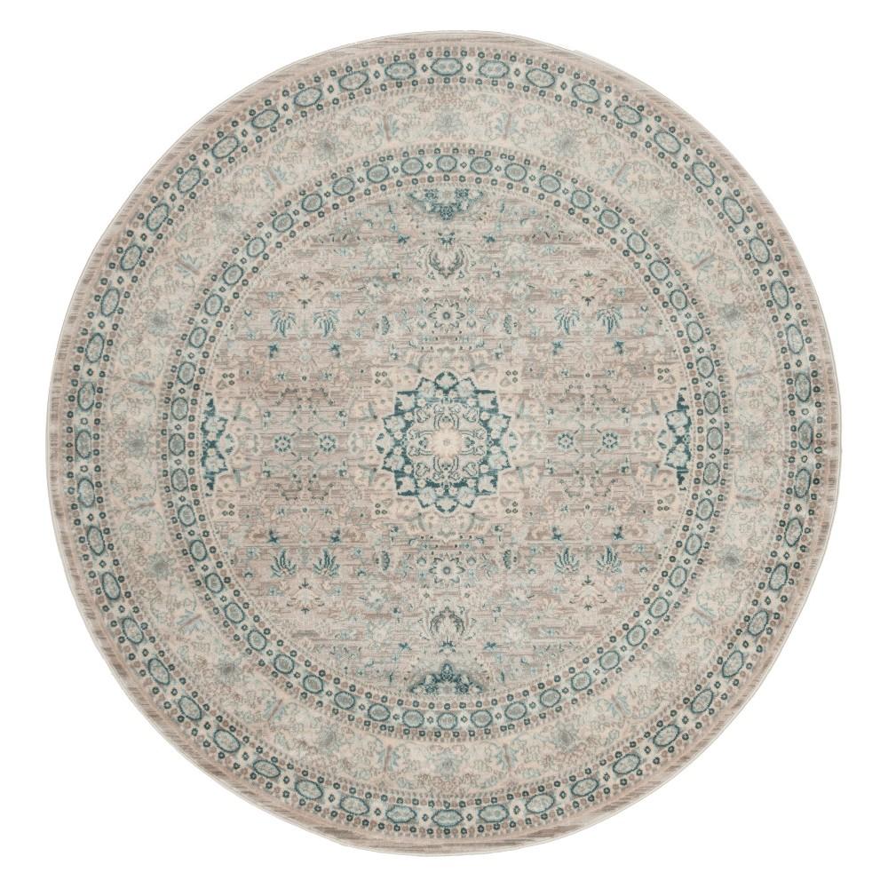 5' Medallion Round Area Rug Gray/Blue - Safavieh, Gray Blue