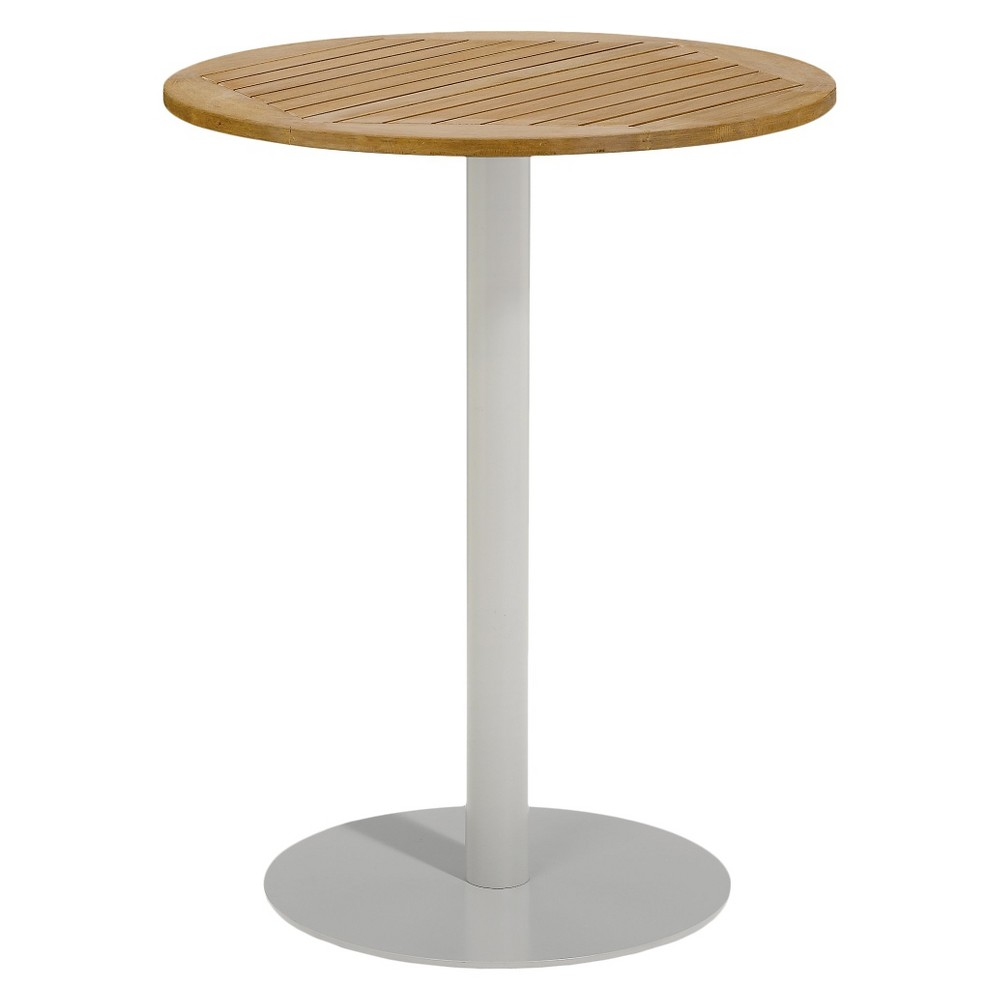 Travira 32 Round Bar Table - Powder Coated Aluminum Frame with Natural Teakwood Top - Oxford Garden