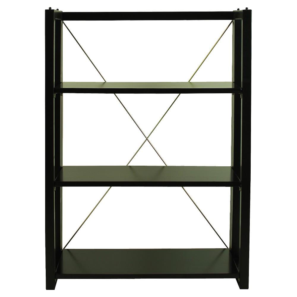 38 Shelf Folding/Stacking Bookcase - Black - Flora Home