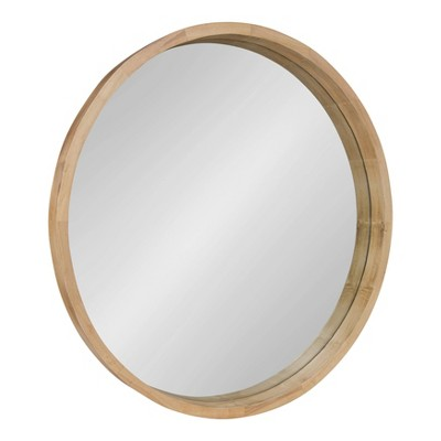 "30"" x 30"" Hutton Round Wood Wall Mirror Natural - Kate and Laurel"