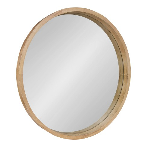 """30"""" Hutton Round Wood Wall Mirror Natural - Kate and Laurel - image 1 of 4"""