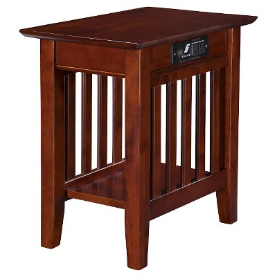 Mission Chair Side Table with Charger - Walnut - Atlantic Furniture