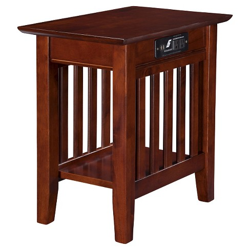 Mission Chair Side Table With Charger Atlantic Furniture