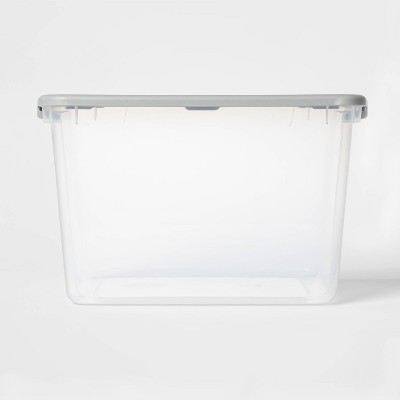 66qt Latching Clear Storage Box with Gray Lid - Room Essentials™