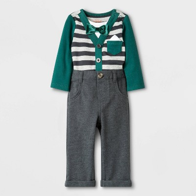 Baby Boys' 2pc Knit Top and Bottom Set - Cat & Jack™ Gray/Green 0-3M
