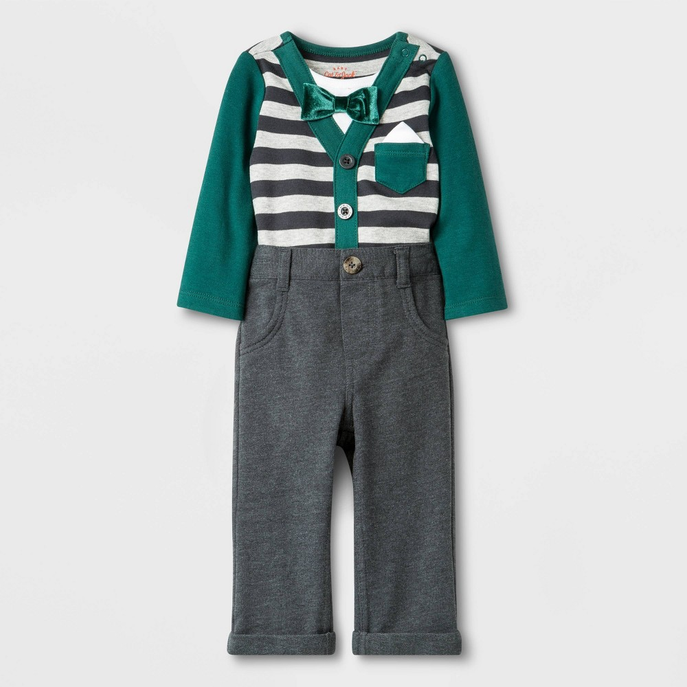 Image of Baby Boys' 2pc Knit Top and Bottom Set - Cat & Jack Gray/Green 0-3M, Boy's