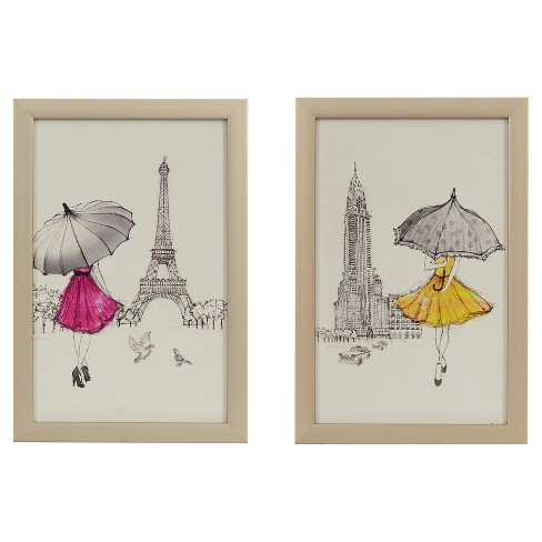 """Woman with Umbrella Wall Print Pink/Yellow 12.6""""x17.52""""x2.8"""" - image 1 of 5"""