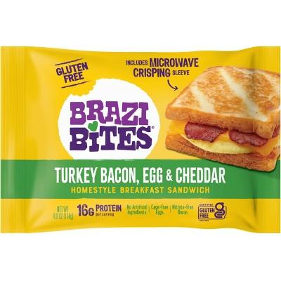 Brazi Bites Gluten Free Turkey, Bacon, Egg & Cheese Frozen Breakfast Sandwich - 4oz
