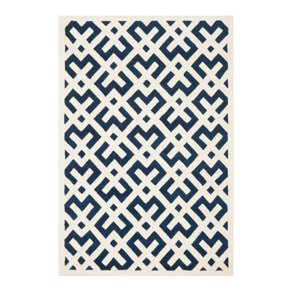Dark Blue/Ivory Geometric Tufted Accent Rug 4'X6' - Safavieh