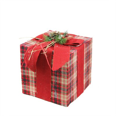 "Northlight 15"" Red Plaid Gift Box with Pine Bow Christmas Tabletop Decor"