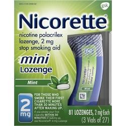 Nicorette 2mg Stop Smoking Aid Nicotine Mini Lozenge - Mint - 81ct