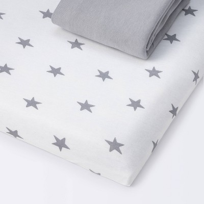 Fitted Playyard Jersey Sheet Scatter Star and Solid Gray - Cloud Island™ 2pk