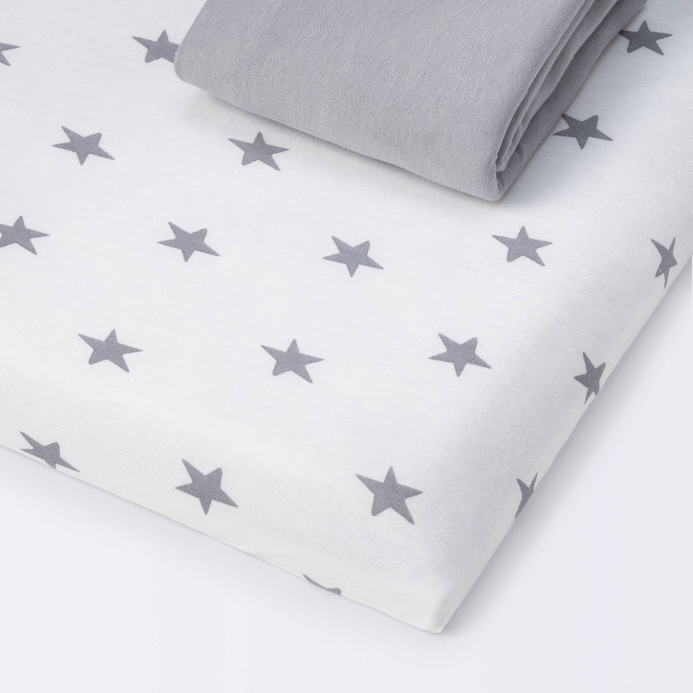 Fitted Playyard Jersey Sheet Scatter Star And Solid Gray Cloud Island 8482 2pk