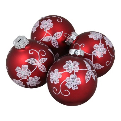 """Northlight 4ct Red and White Floral Christmas Ball Ornaments 3.25"""" (100mm)"""
