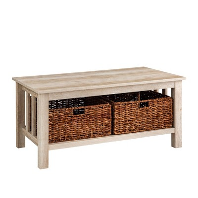 40  Wood Storage Coffee Table with Totes White Oak - Saracina Home