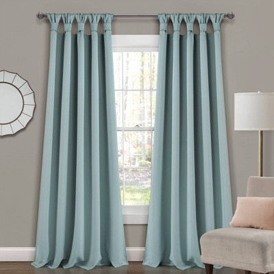 "Set of 2 84""x52"" Insulated Knotted Tab Top Blackout Window Curtain Panels Blue - Lush Décor"
