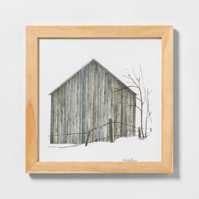 16  X 16  Sketched Barn Wall Art with Natural Wood Frame - Hearth & Hand™ with Magnolia