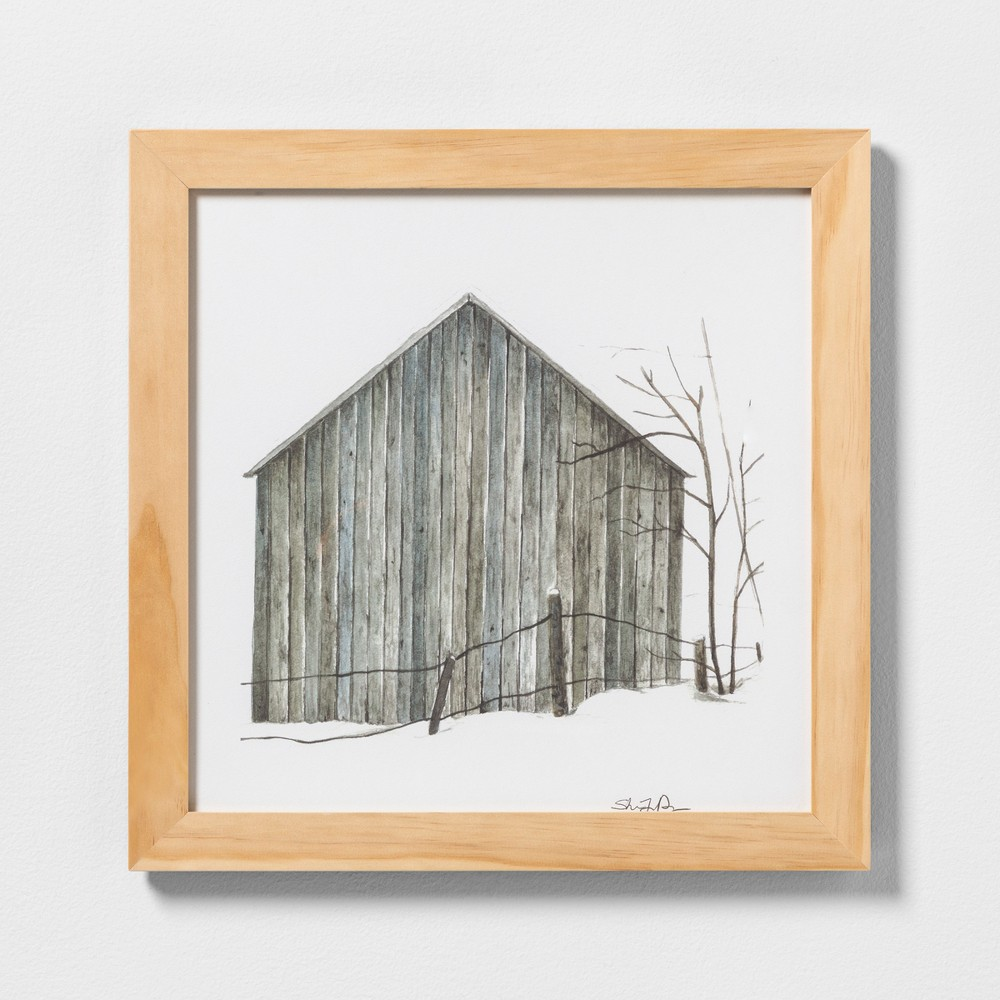 """Image of """"16"""""""" X 16"""""""" Sketched Barn Wall Art with Natural Wood Frame - Hearth & Hand with Magnolia"""""""