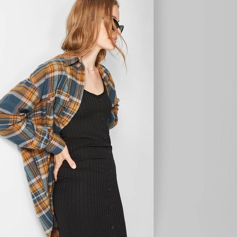 Women's Plaid Long Sleeve Oversized Button-Down Flannel Shirt - Wild Fable™ Navy L - image 1 of 3