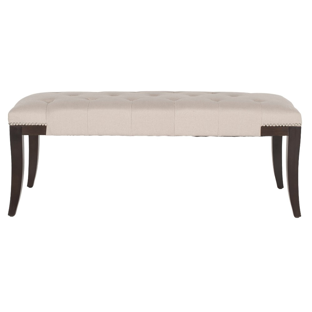 Gibbons Bench with Tufting - Taupe (Brown) - Safavieh