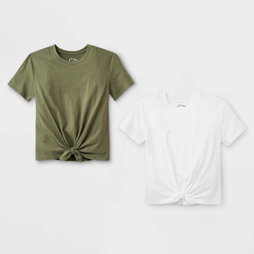Girls' Short Sleeve Tie Front 2pk T-Shirt - art class Olive/White Xxl, Green