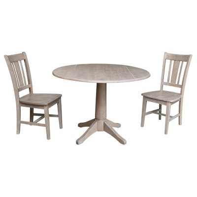 """30.3"""" Jayden Round Top Pedestal Extendable Dining Table with 2 Chairs Washed Gray/Taupe - International Concepts"""