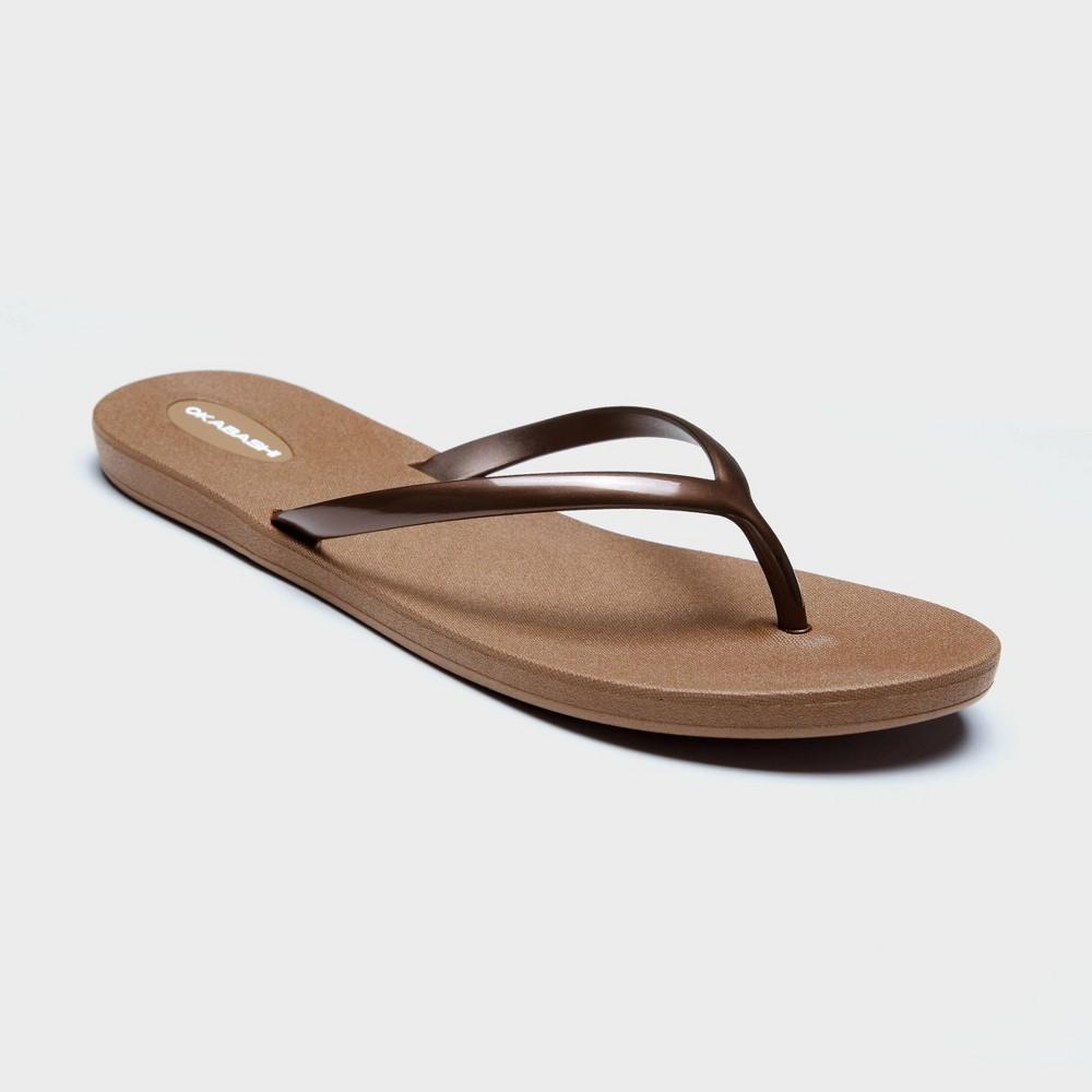 Women's Shoreline Flip Flop Sandals - Okabashi Bronze 6