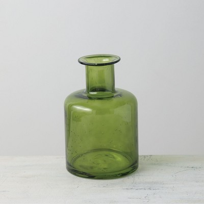 "Sullivans Bubble Glass Bottle Vase 8""H Green"