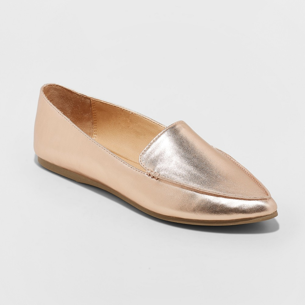 Women's Micah Wide Width Pointy Toe Loafers - A New Day Rose Gold 8W, Size: 8 Wide
