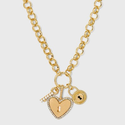 SUGARFIX by BaubleBar Heart Key and Locket Link Chain Pendant Necklace - Gold