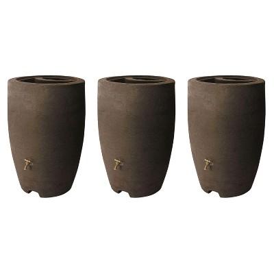 Algreen ALG-86312 Athena 50 Gallon Plastic Rain Water Collection Drum Barrel, Brownstone (3 Pack)