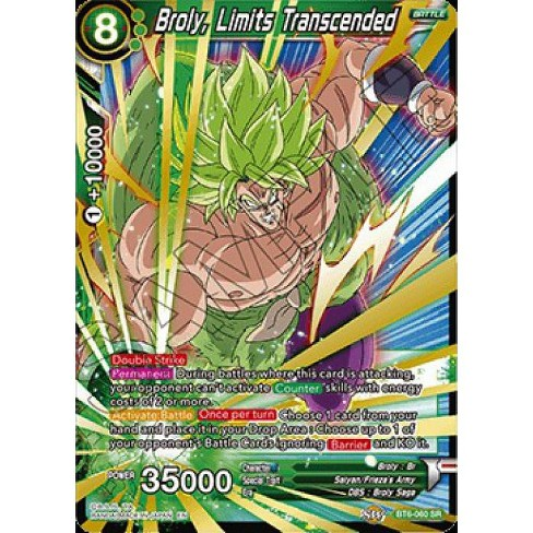 Dragon Ball Super Collectible Card Game Destroyer Kings Super Rare Broly, Limits Transcended BT6-060 - image 1 of 1